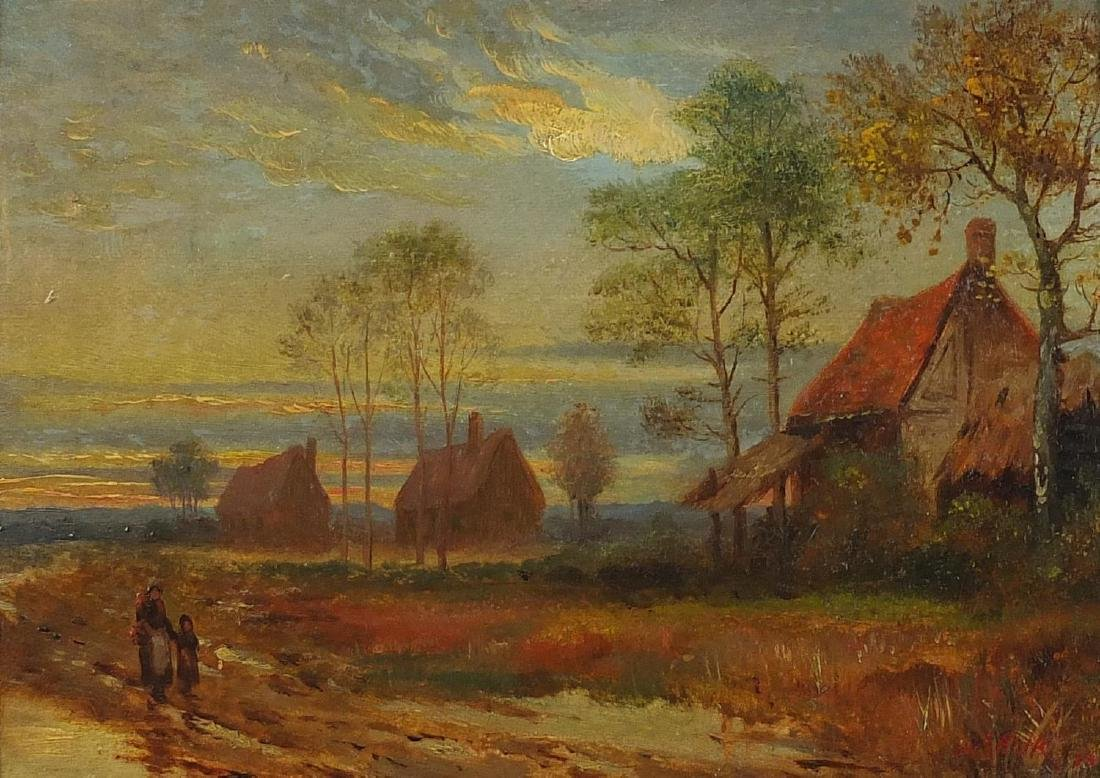 Mother and child walking before buildings, European school oil on board, bearing a signature A