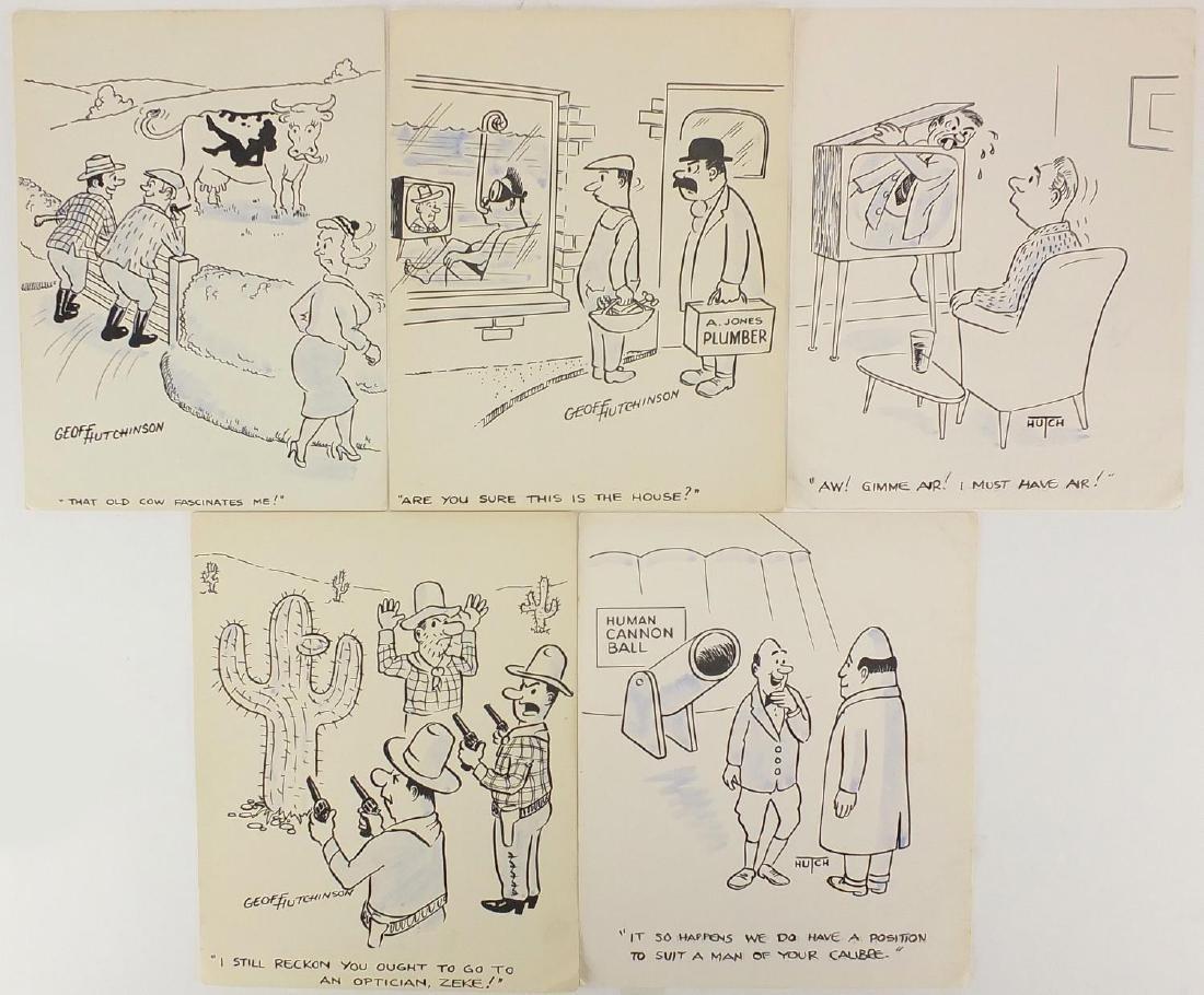 Geoff Hutchinson - Five original cartoon ink illustrations including cowboy examples, all