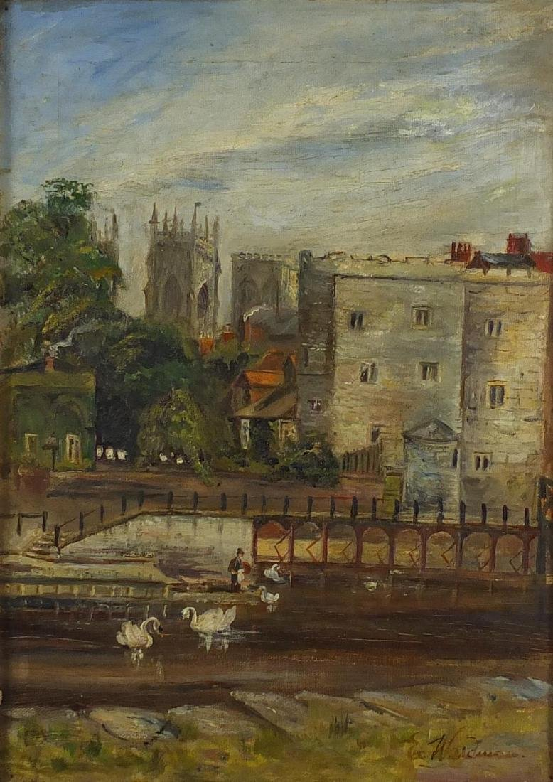 E Waldman - York Minster from the River Ouse, mid 19th century oil onto canvas, label verso, mounted