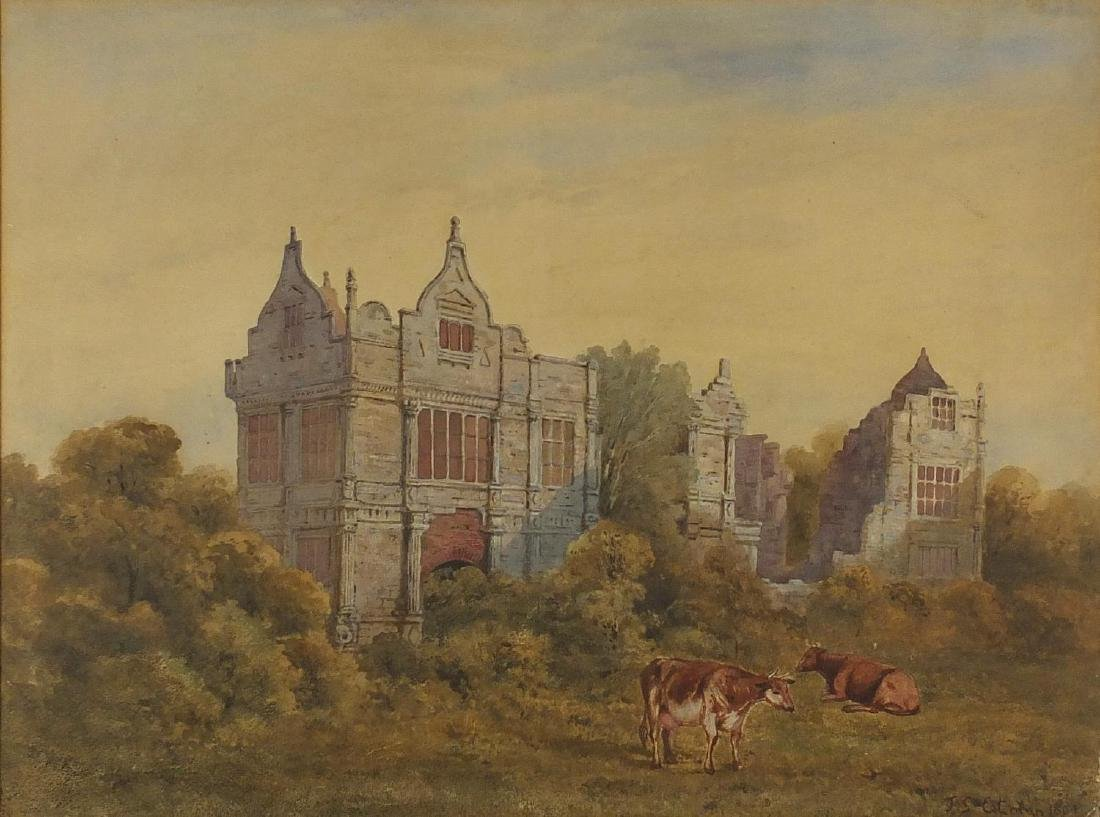 Manner of John Sell Cotman - Architectural ruins with grazing cattle, 19th century watercolour,