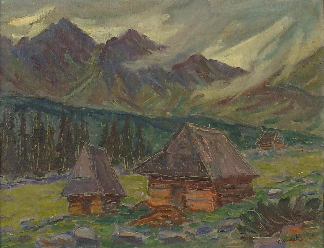 Huts before mountains, Polish school oil on board, bearing a signature T Kunek and inscription