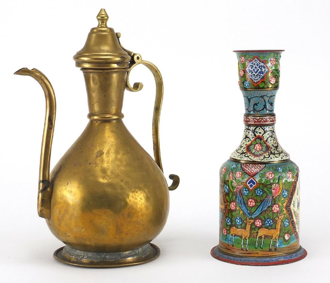 Turkish gilt copper wine ewer together with an Indian Hookah base, hand painted with animals and