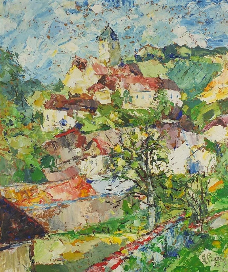 Continental landscape with buildings, mid 20th century oil on board, bearing a signature Vienne