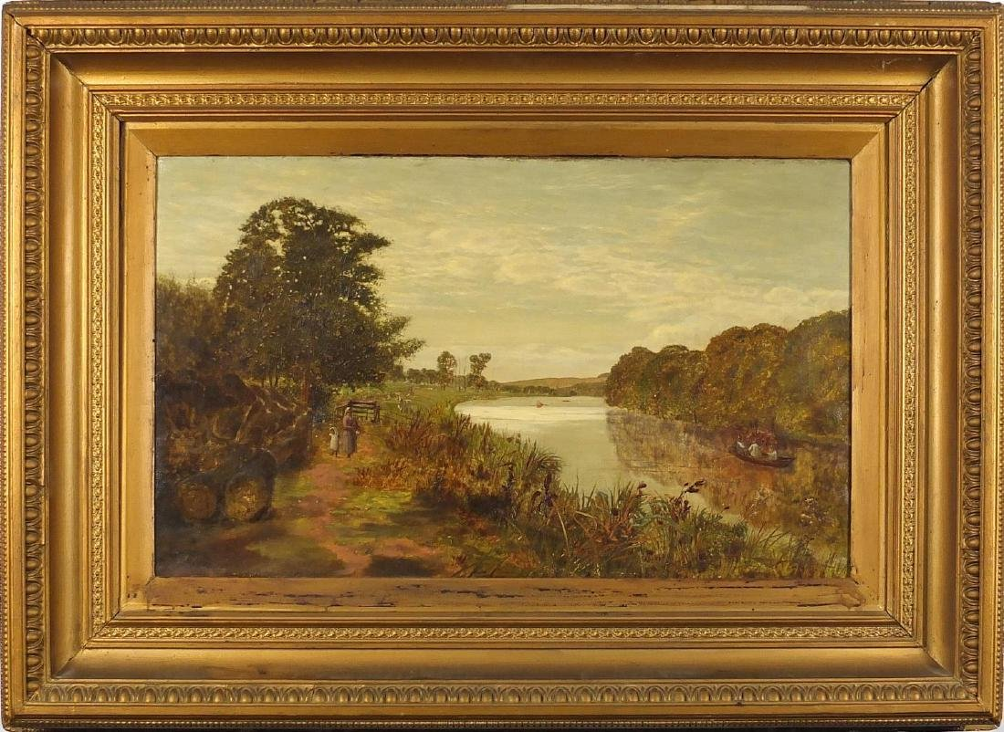 Edwin Day - 19th century oil on canvas, mother and child walking beside a river with boat, mounted