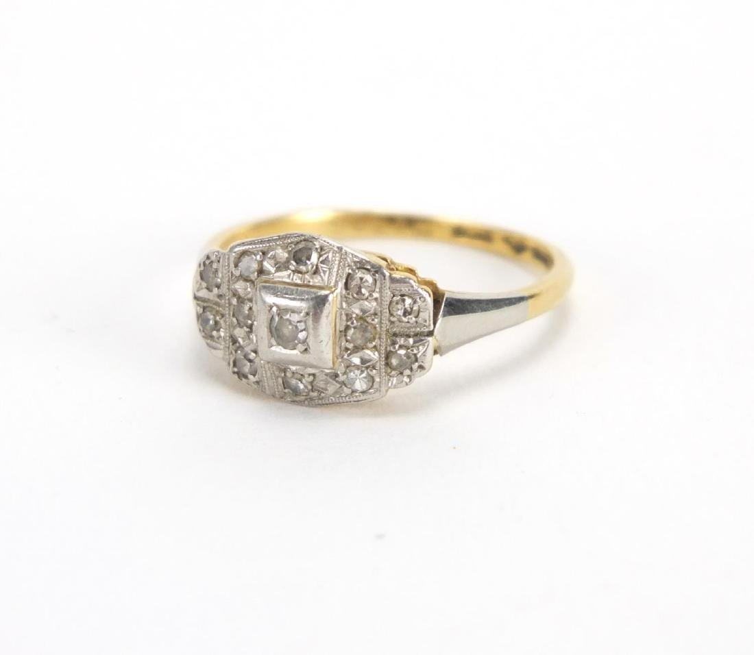 18ct gold diamond cluster ring, size N, approximate weight 2.7g Old mixed cut Diamonds weighing