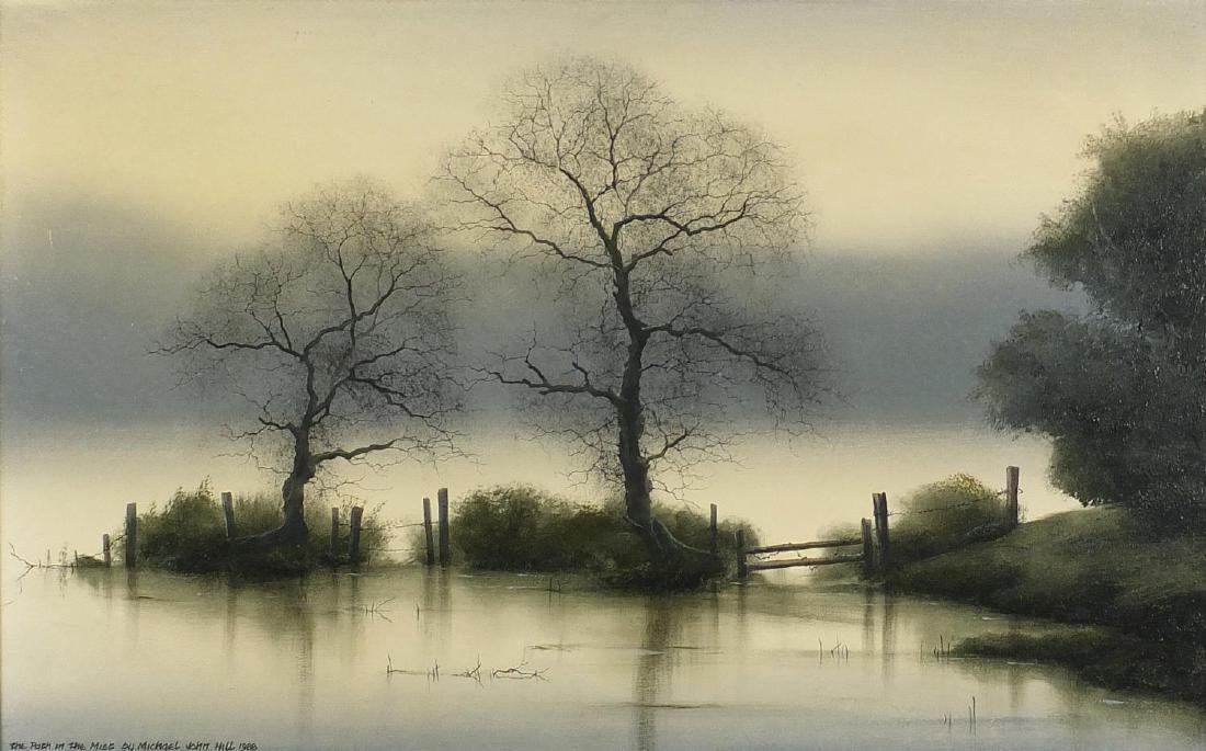 Michael John Hill 1988 - The Path in the Mist, oil on board, label verso, mounted and framed, 60.5cm