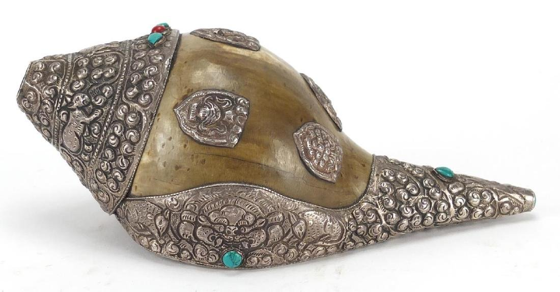 Tibetan silver mounted Conch shell set with coral and turquoise stones, the silver mounts embossed