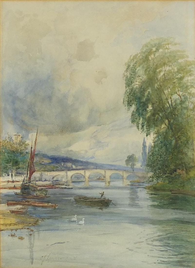 Charles James Lauder RSW - Moored boats before a bridge, watercolour, inscribed verso, mounted and