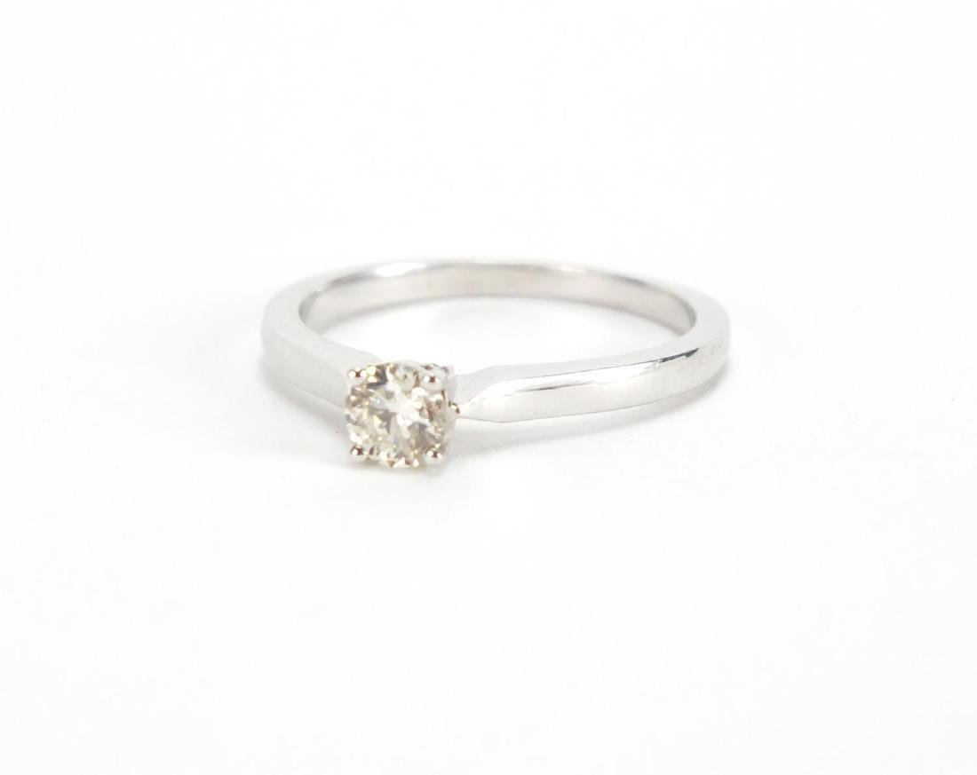 9ct gold white Diamond solitaire ring, size K, approximate weight 1.8g The diamond is modern round