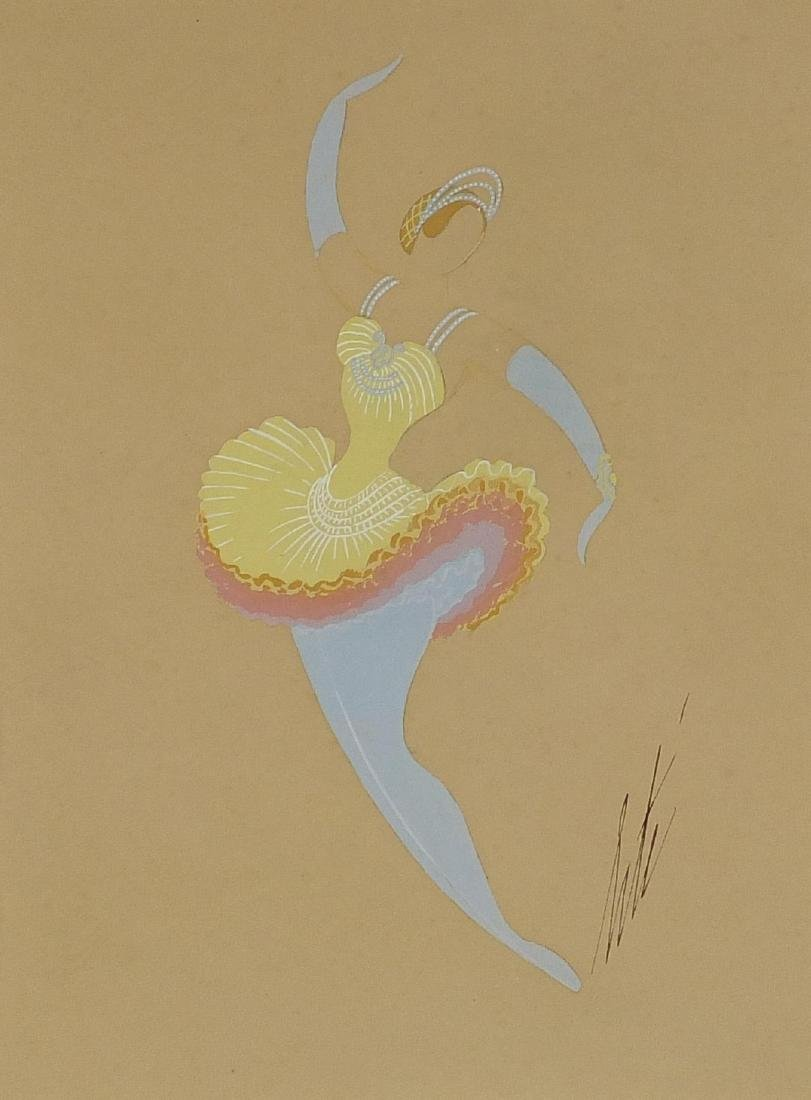 Erté - Ballerina in flow, gouache onto card, mounted and framed, 30cm x 22.5cm Further condition