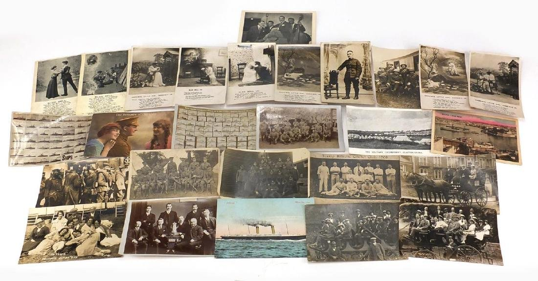Military, sporting and social history postcards some black and white photographic including German