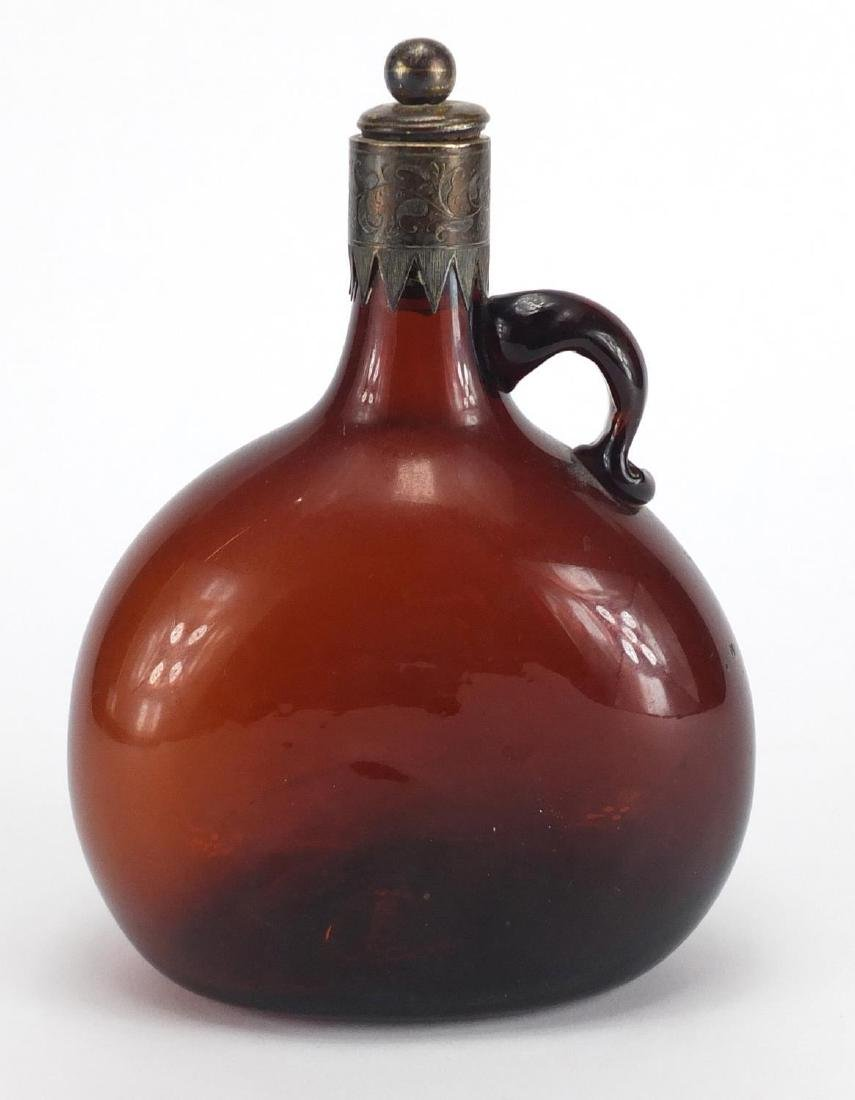 Victorian brown glass bottle with silver collar and stopper, E.B Birmingham 1870, 20cm high