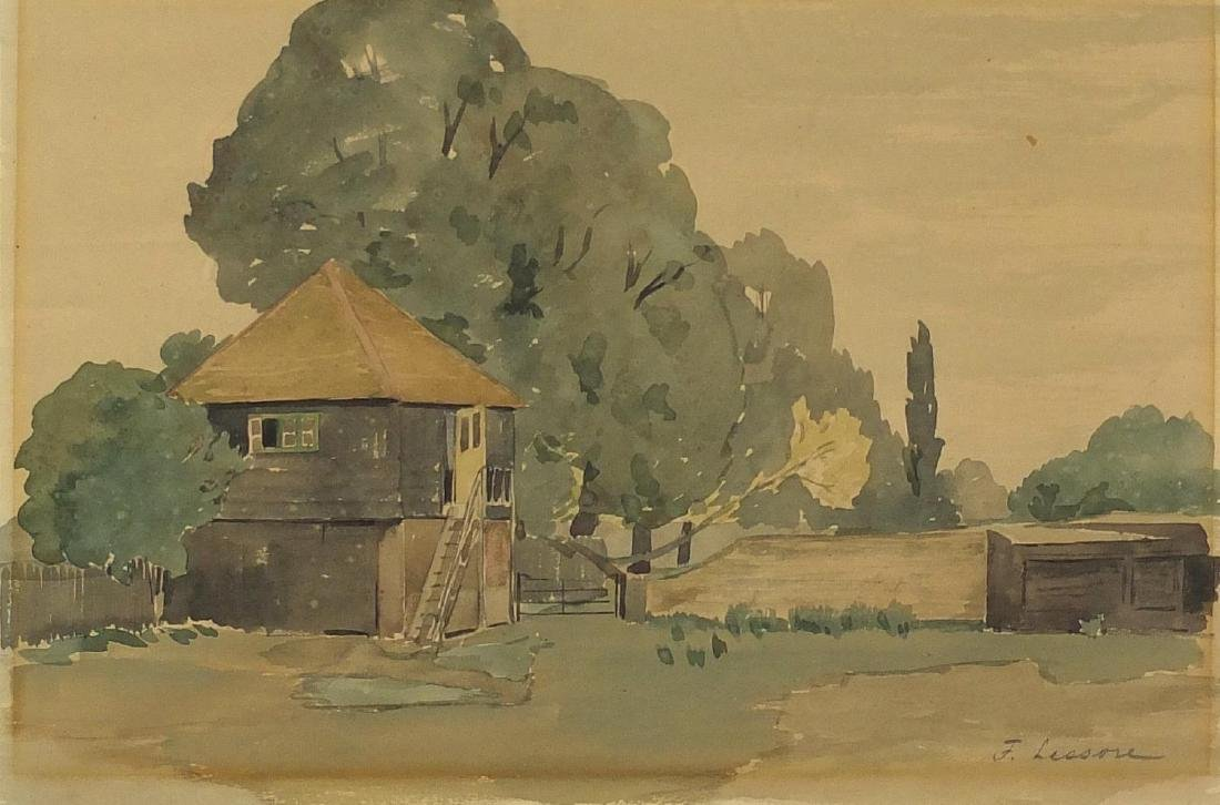 Frederick Lessore - Surrey farmyard, watercolour on card, inscribed Beaux Arts Gallery label