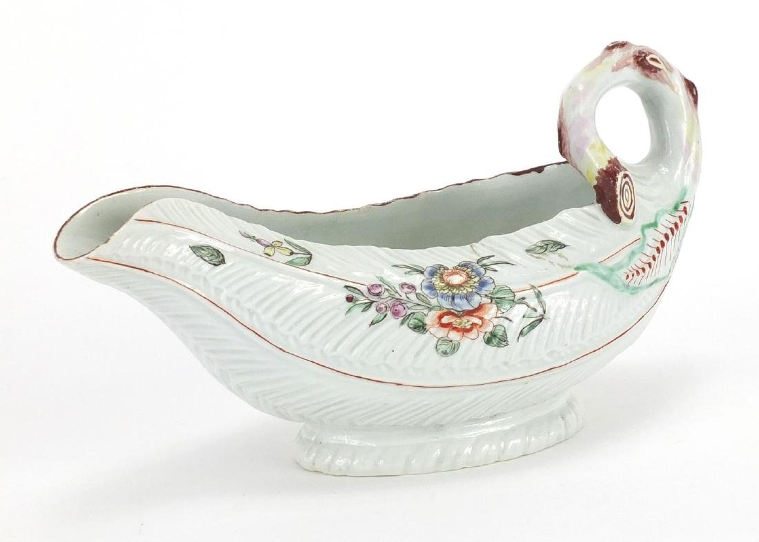 18th century Worcester porcelain Cos Lettuce Leaf sauce boat, hand painted with flowers, 22cm in