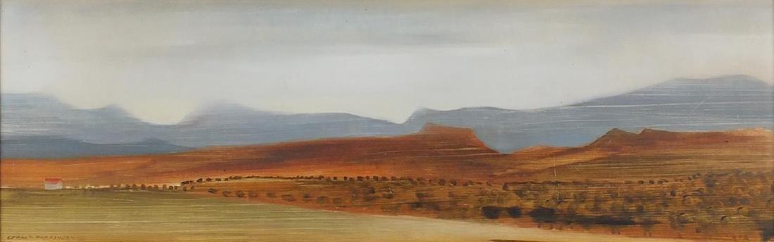 Gerald Parkinson 1966 - Framfield Sussex panoramic landscape, oil on board, inscriptions verso,