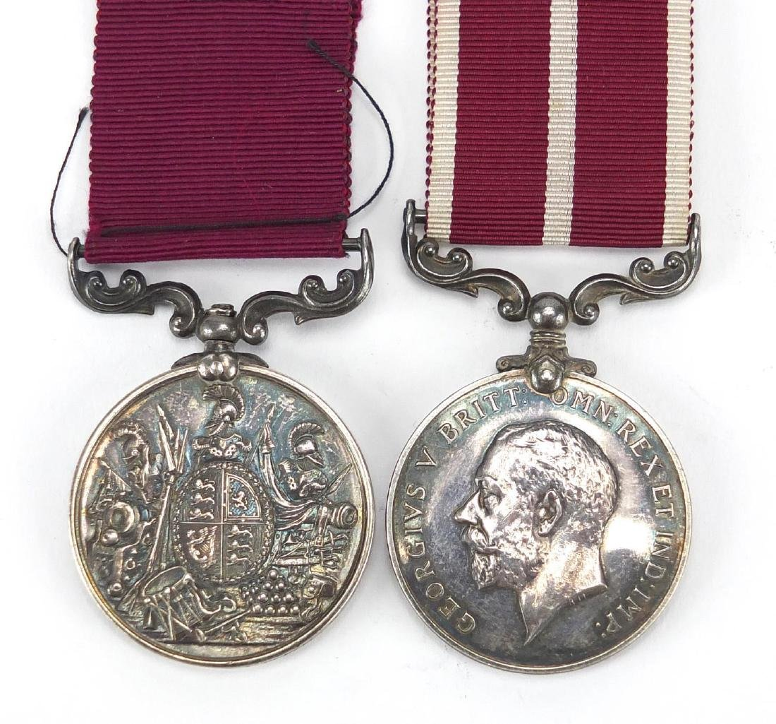 British Military George V Meritorious Service medal and Long Service & Good Conduct medal awarded to