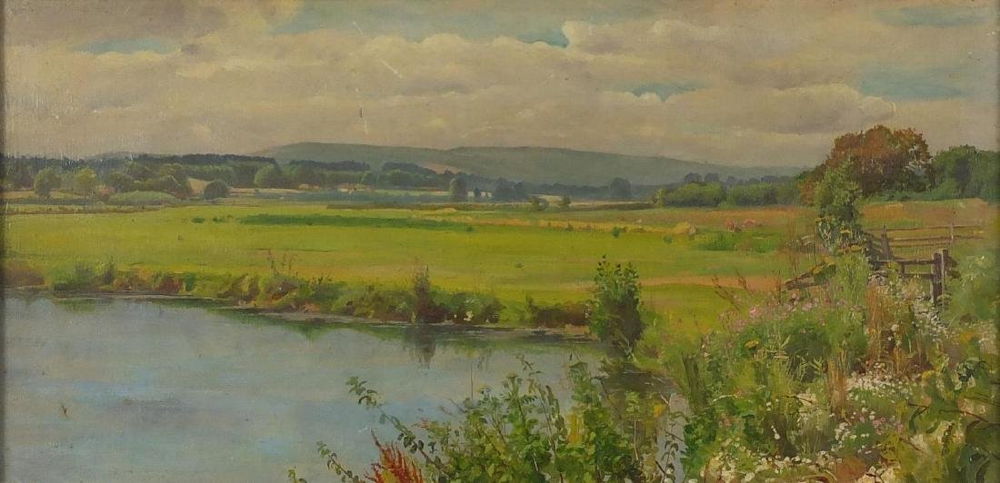 James Eyre Jackson - On the Arun off Willingdon Polegate, oil on canvas, inscribed verso, mounted