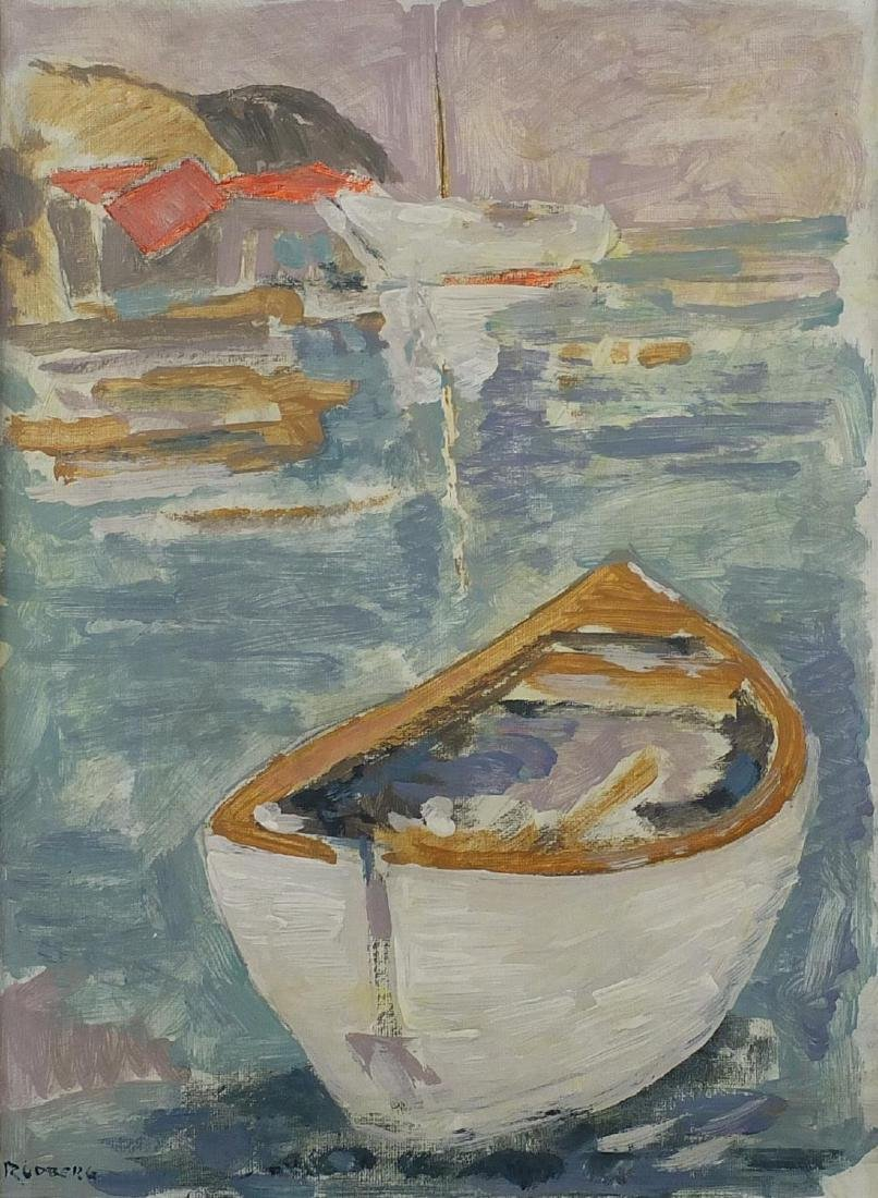Boats on calm water, post impressionist oil on canvas board, bearing a signature Rudberg and