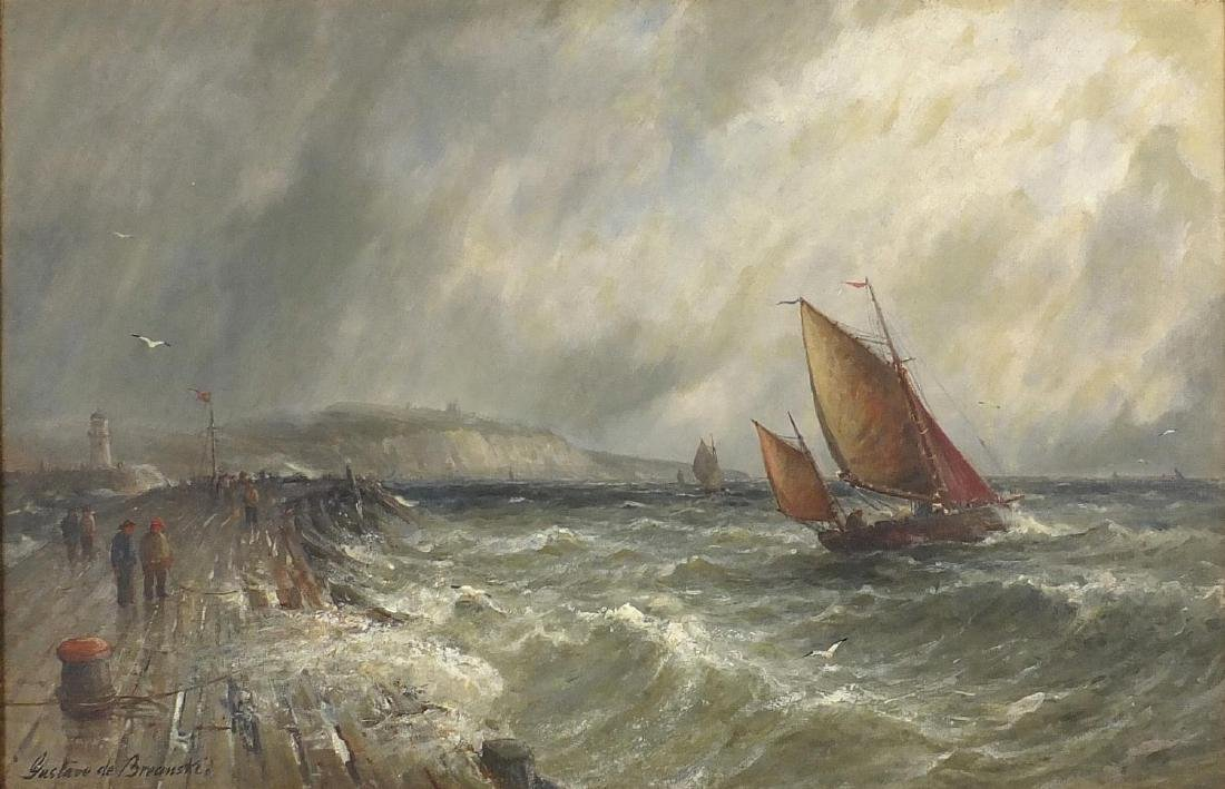 Gustave De Breanski - Sailing boats on choppy seas with figures and lighthouse, 19th century