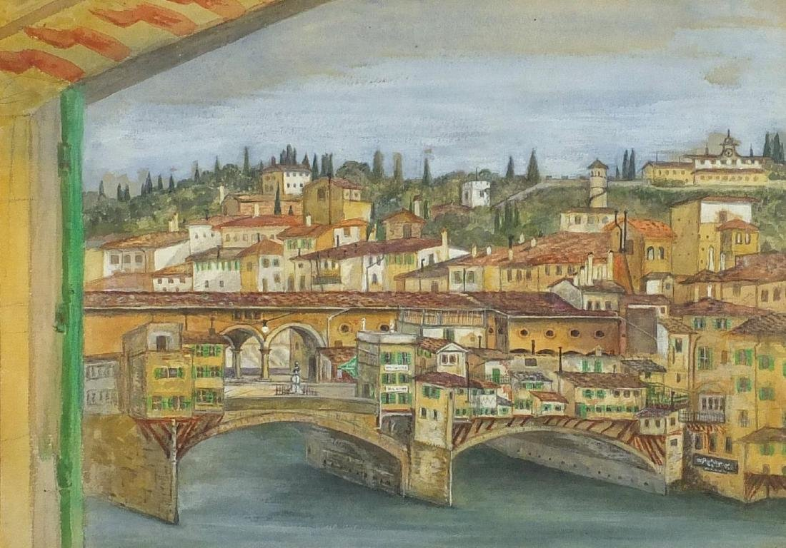 From my Window Lungarno, Firenze, 19th century Italian school watercolour, framed, 34cm x 24cm