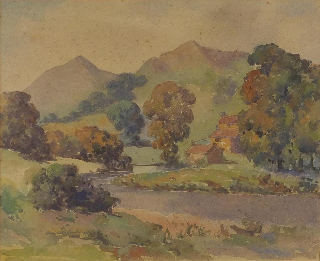 Reverend Arthur B Bateman - Yorkshire Dales, watercolour, inscribed label verso, mounted and framed,