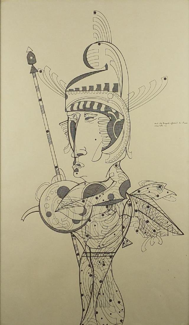 Surreal figure, 1970's pen and ink, bearing an inscription, framed, 72.5cm x 42.5cm Further