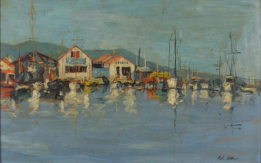 Peter Collins - Moored boats in a harbour, oil on board, label verso, mounted and framed, 60cm x
