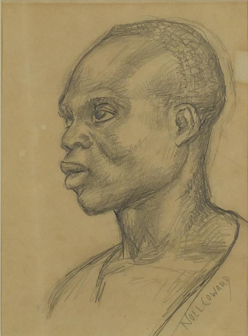 Attributed to Noël Coward - Head and shoulders portrait of an African male, pencil sketch, label