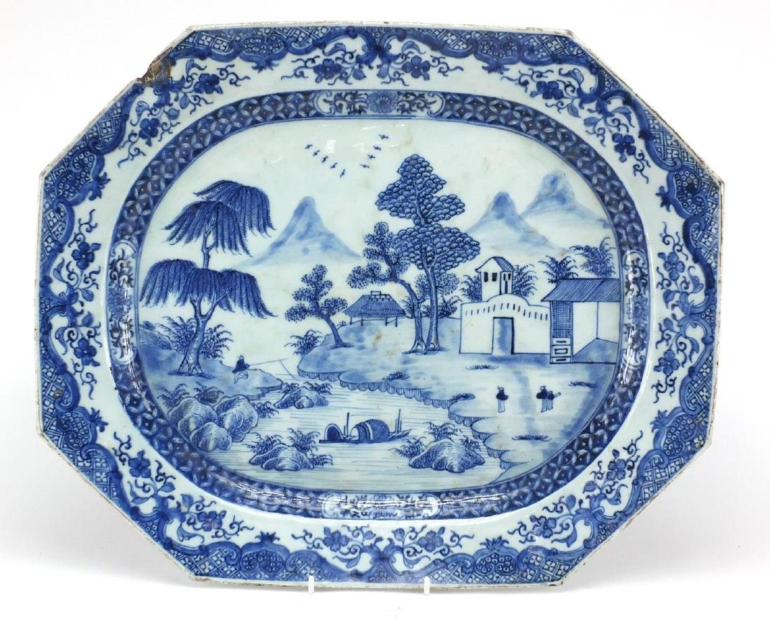18th century Chinese blue and white porcelain meat platter, hand painted with figures in a river