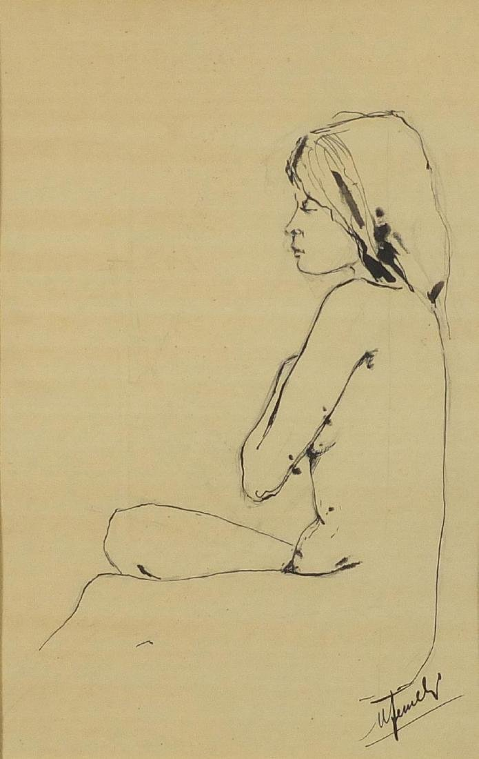Seated nude female, ink sketch on paper, bearing an indistinct signature, mounted and framed, 28cm x