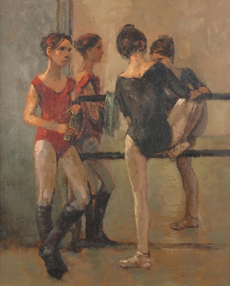 Two ballet dancers in a studio, impressionist oil on canvas, bearing an inscription verso, framed,