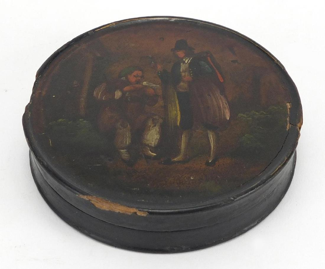 19th century papier-mâché snuff box, hand painted with two figures, 9cm in diameter Further