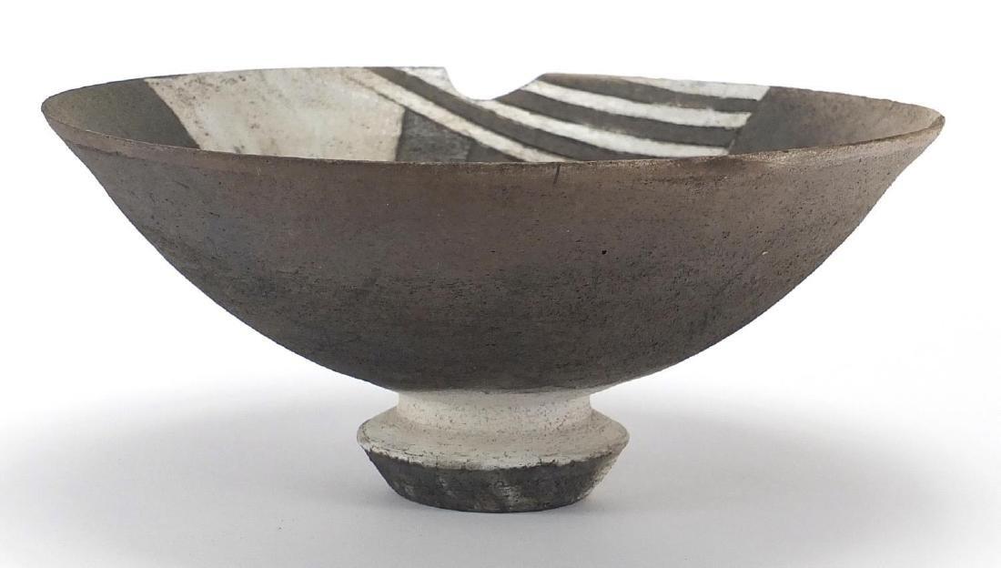 David Howard Jones Raku bowl with flared rim, incised initials around the foot rim, 25.5cm in