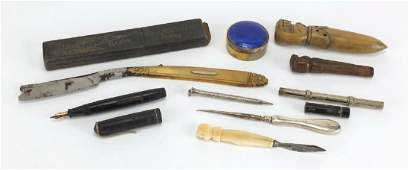 Antique and later miscellaneous objects including a pot with blue guilloche enamelled lid, clench