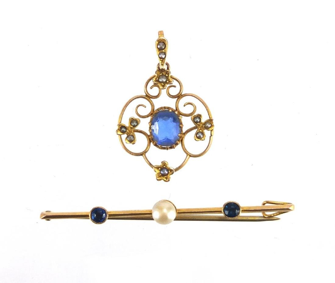 9ct gold blue stone and Pearl bar brooch, together with a 9ct gold blue stone a Seed Pearl