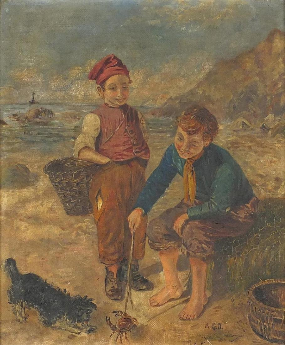Two boys on a beach playing with a crab, Irish school oil on canvas, bearing a monogram AGT, mounted