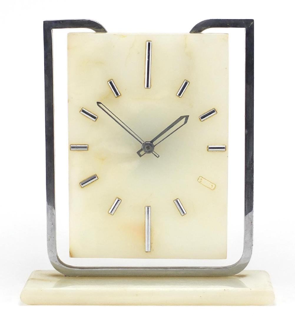 Art Deco onyx and chrome mantel clock with eight day Swiss movement, 30cm high Further condition