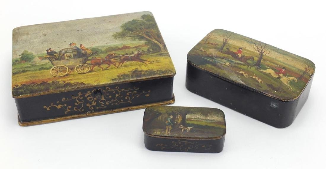 Three 19th century papier-mâché boxes, one snuff, each lid hand painted with a stagecoach scene,