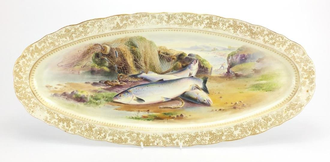 Victorian Royal Worcester porcelain salmon platter, hand painted by E Salter of salmon and a