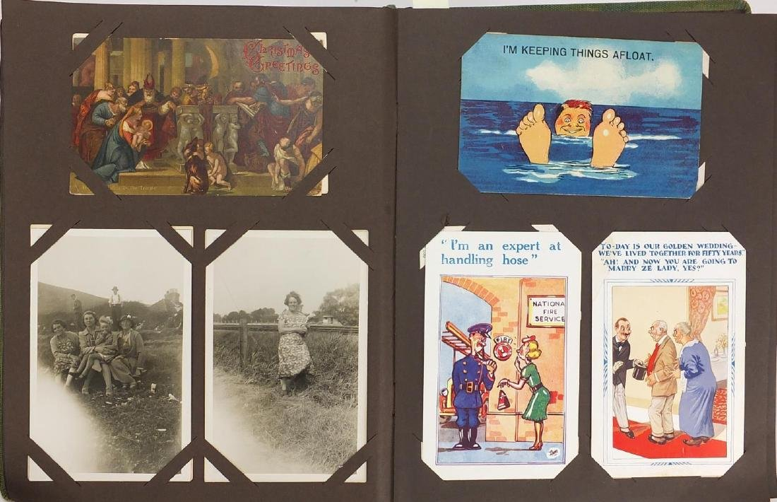 Topographical social history and greetings postcards, arranged in two albums some photographic