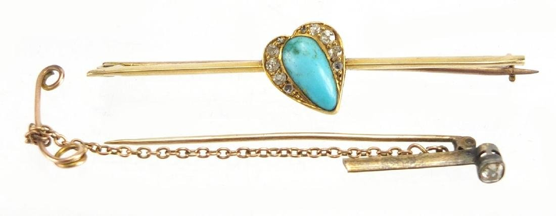 Victorian unmarked Turquoise and Diamond bar brooch, and a Diamond solitaire tie pin, the brooch 6cm