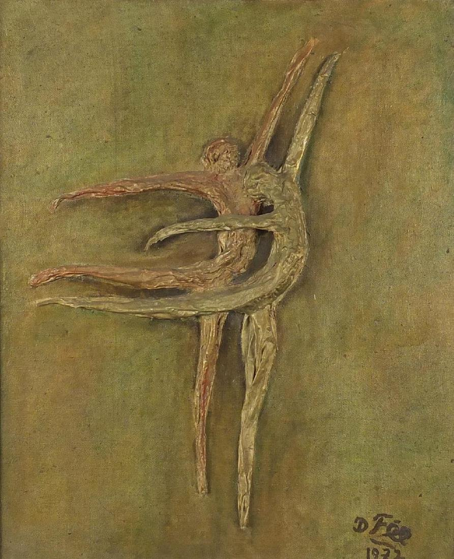 Male and female ballerinas, oil and 3D collage on canvas, bearing a signature D Fee and inscriptions
