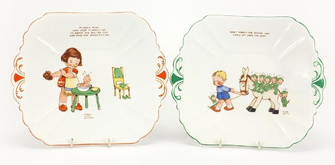 Two of Shelley nursery rhyme sandwich plates by Mabel Lucie Atwell, Don't Forget The Fairies and