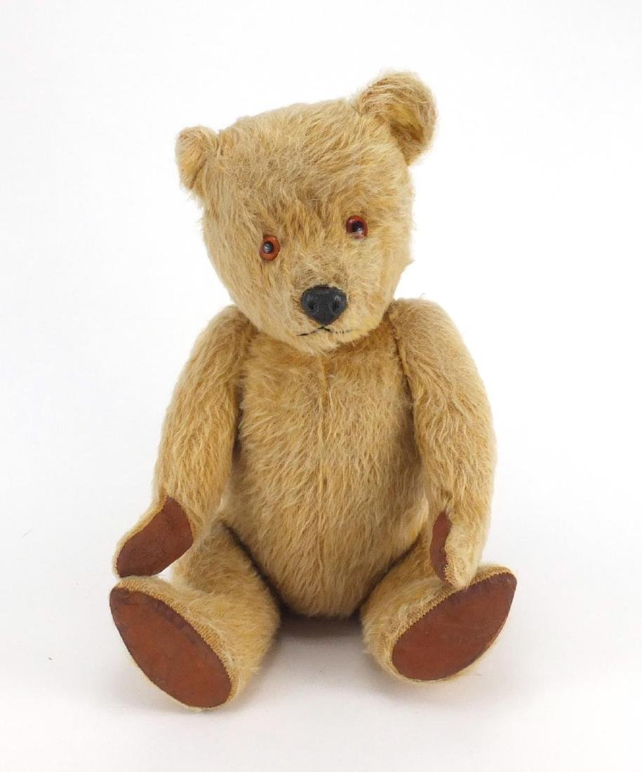 Vintage Chiltern hygienic teddy bear with jointed limbs, beaded eyes and label, 48cm high Further