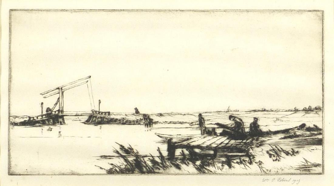 W P Robins - The drawbridge, pencil signed original drypoint, mounted and framed, 23cm x 13cm