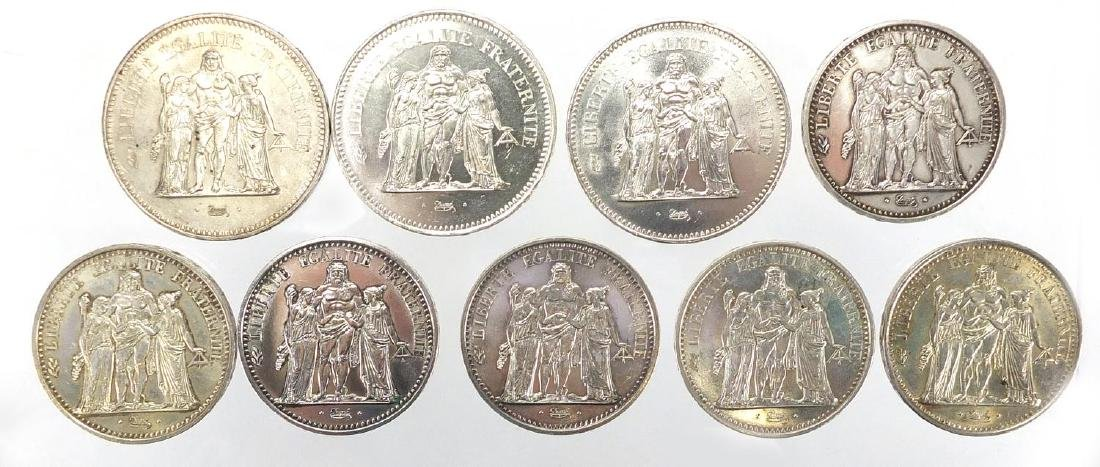 French fifty and ten silver Francs comprising three fifty Francs 1976, two 1977 and six ten Francs