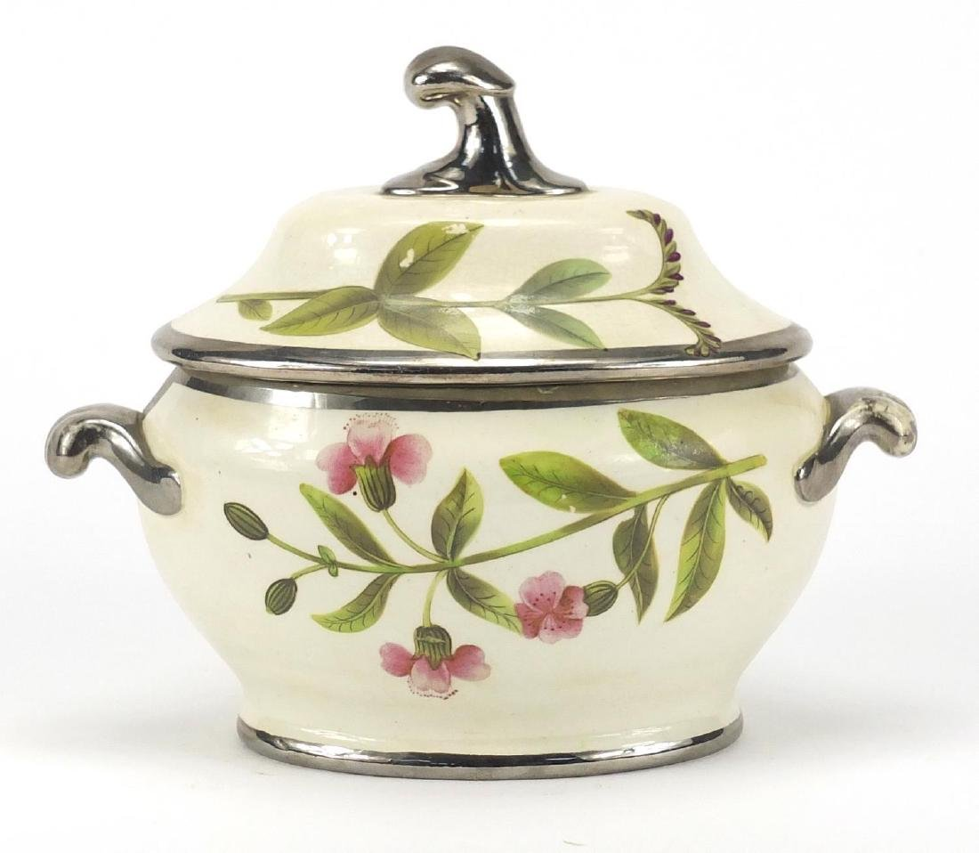 Staffordshire Botanical Cream Ware sauce tureen and cover, hand painted with flowers, 15cm high