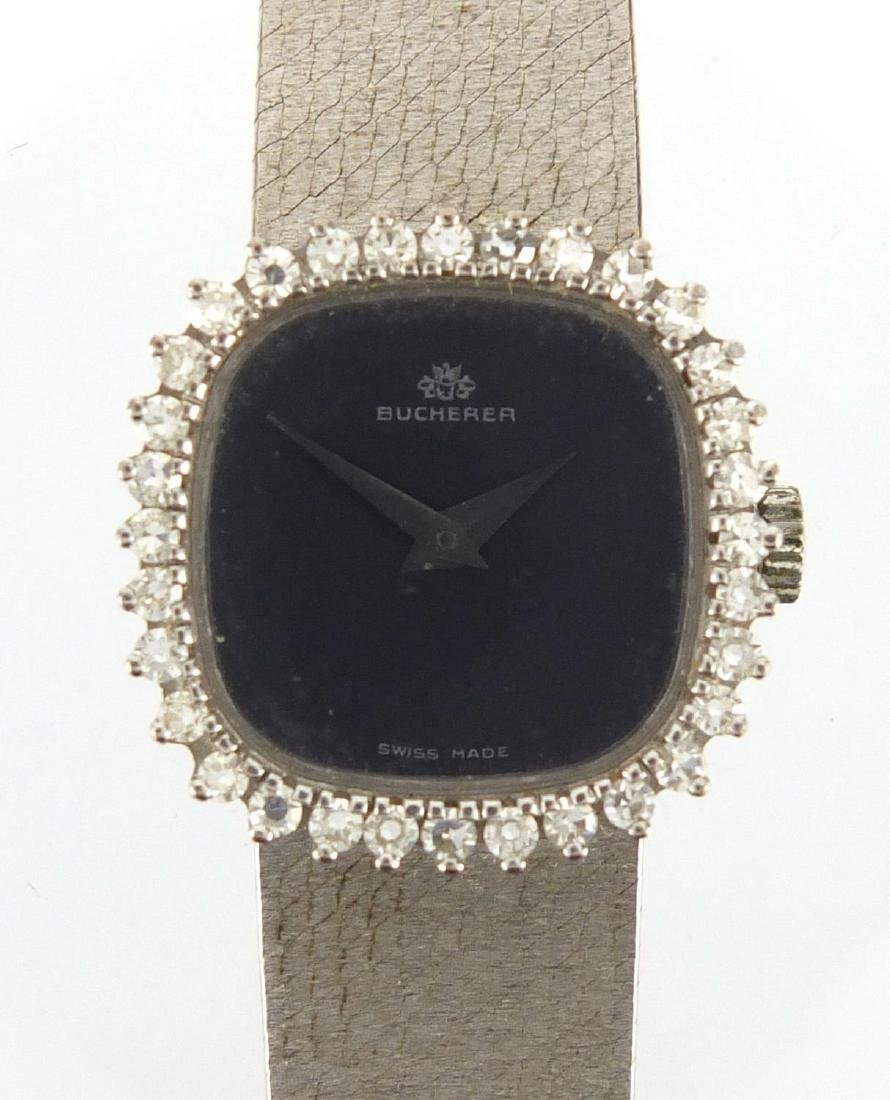 Ladies 18ct white gold Bucherer wristwatch, with diamond surround, approximate weight 43.1g