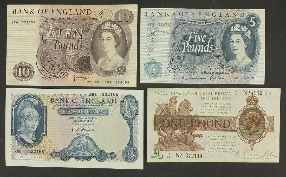 Four British banknotes comprising Treasury one pound, ten pound and two five pound notes, various