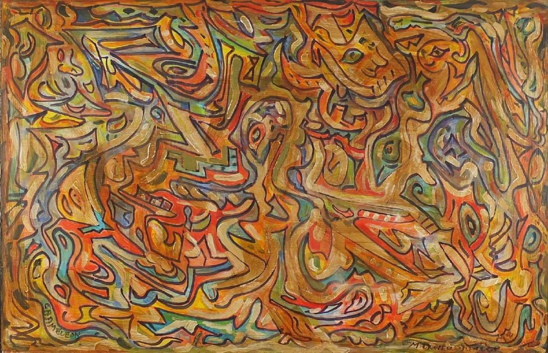 Abstract composition chameleon, oil on board, bearing a signature Maxwell Dunlop, framed, 89cm x
